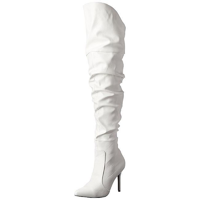 Pleaser CLASSIQUE-3 witte dames overknee laarzen hoge hak maat 36 - 37