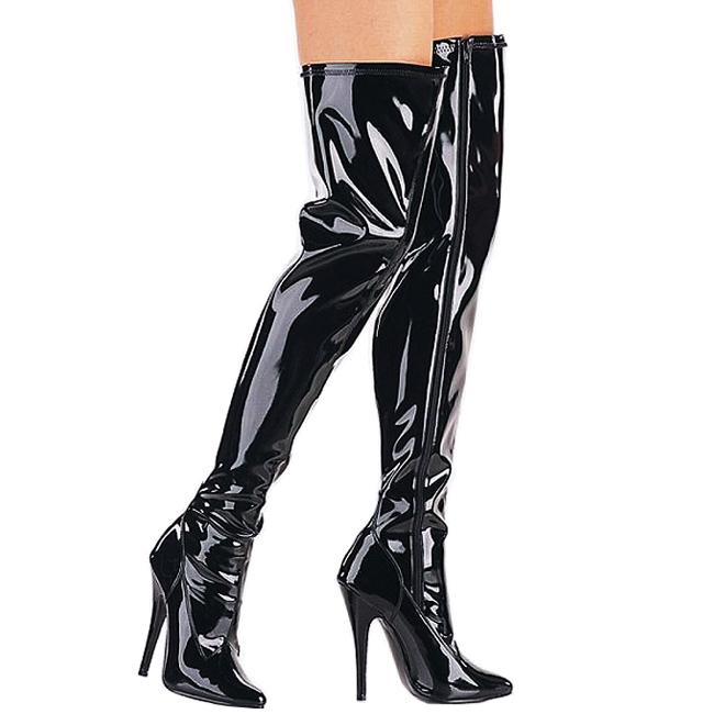 Pleaser DOMINA-3000 lakleer overknee laarzen met naaldhak maat 37 - 38