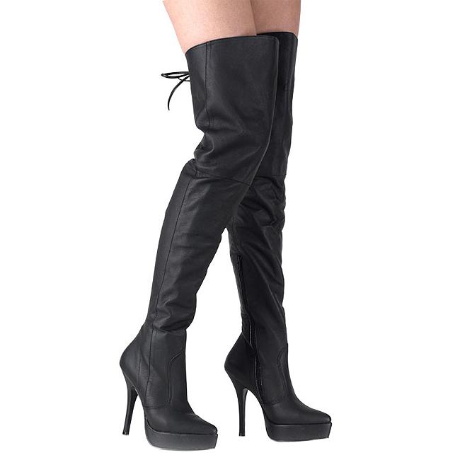 Pleaser INDULGE-3011 leer overknee laarzen met plateauzool maat 39 - 40