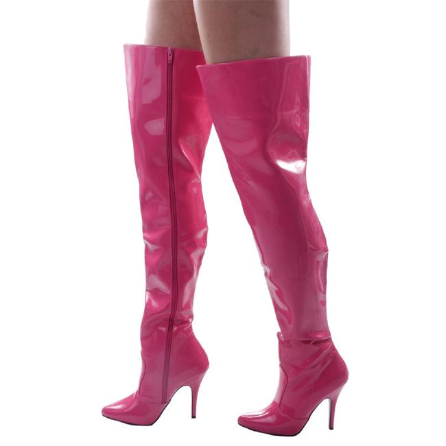 Pleaser SEDUCE-3010 roze overknee laarzen met stilettohak maat 38 - 39